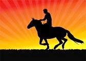 10733438-騎手の日没の背景---ベクトル