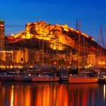 47626493 - view from  port of alicante in night. , spain